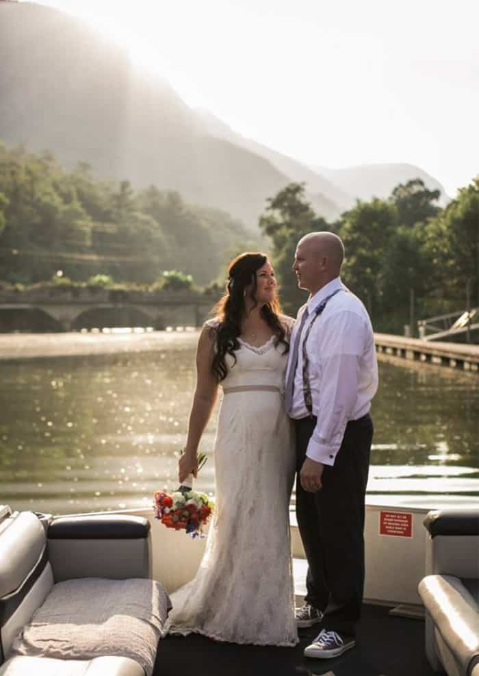 Lake Lure Wedding- photos on the Privateer Boat Tour overlooking the water