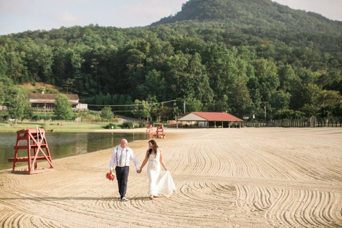 Bride and Groom on the beach at Lake Lure