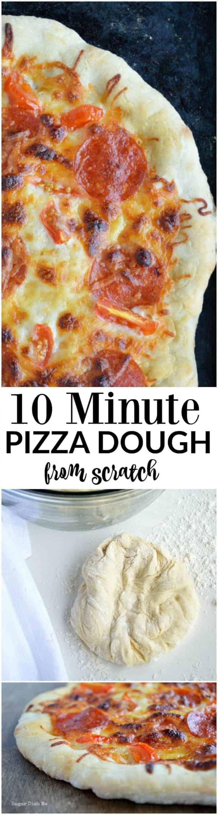 This pizza dough comes together and is ready to bake in just 10 minutes; you can have fresh, hot, homemade pizza on the table in 20!!!