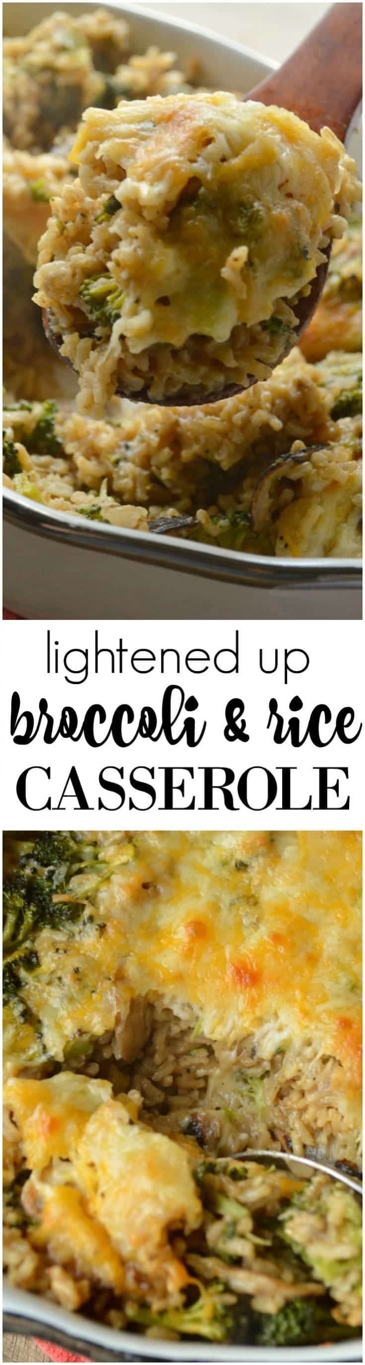 Lightened Up Broccoli Rice Casserole is made with fresh broccoli and homemade cream of mushroom soup. SO GOOD!