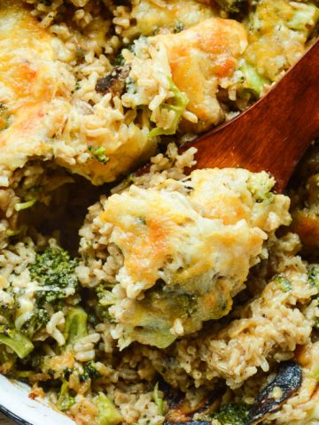 Overhead view of this Healthy Broccoli Rice Casserole Recipe loaded with fresh broccoli, brown rice, and a homemade cheese sauce