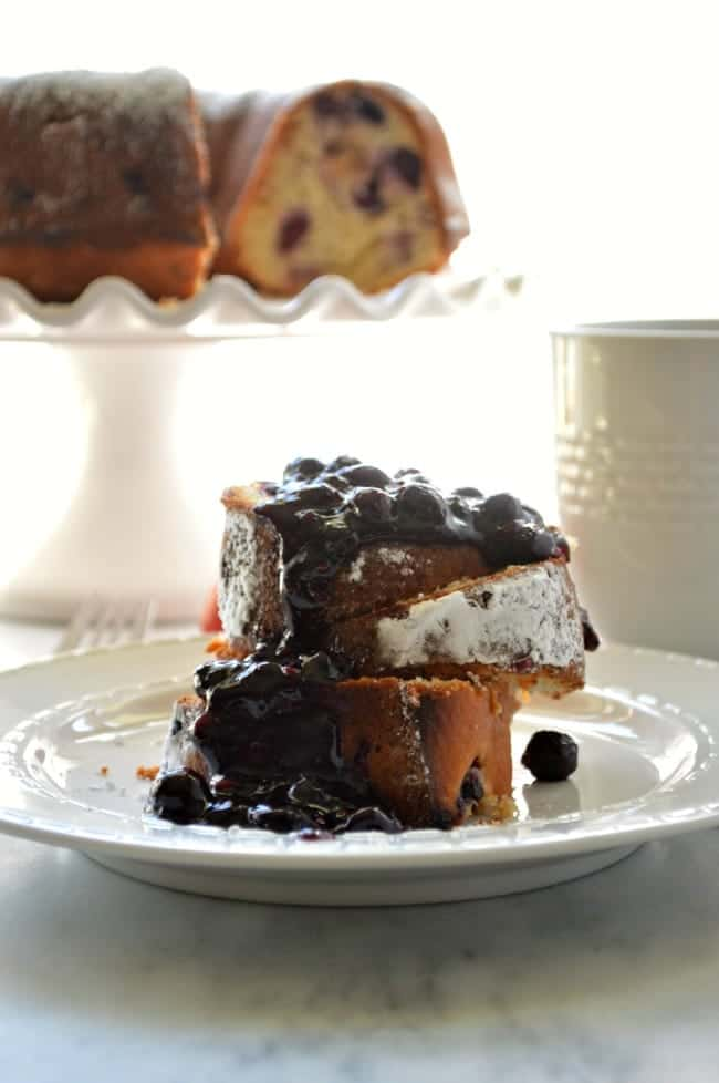 Blueberry Peach Pound cake with Boozy Blueberry Sauce