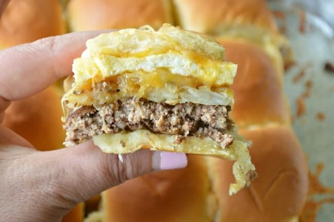 Cheesy Hash Brown Breakfast Sliders