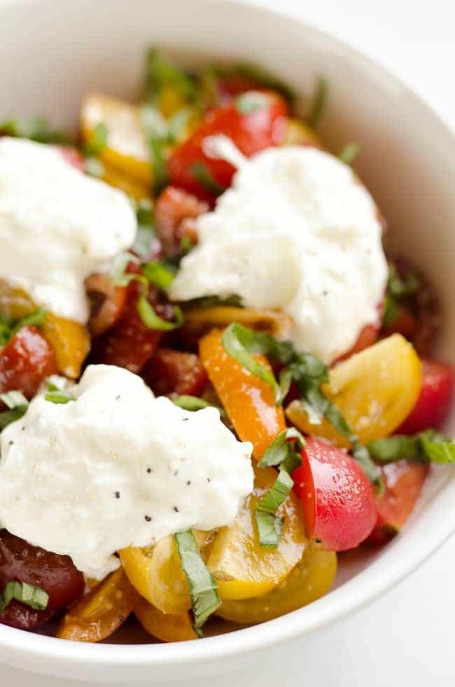Fresh Tomato Basil Burrata Salad from The Creative Bite