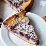 A slice of Blueberry Breakfast Cake