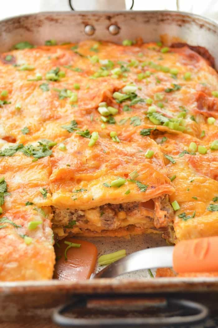 Layered Enchilada Breakfast Casserole