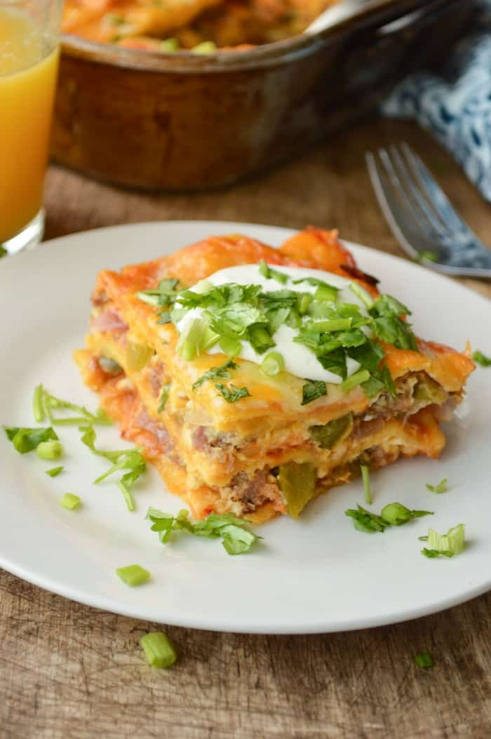 Easy Cheesy Enchilada Breakfast Casserole