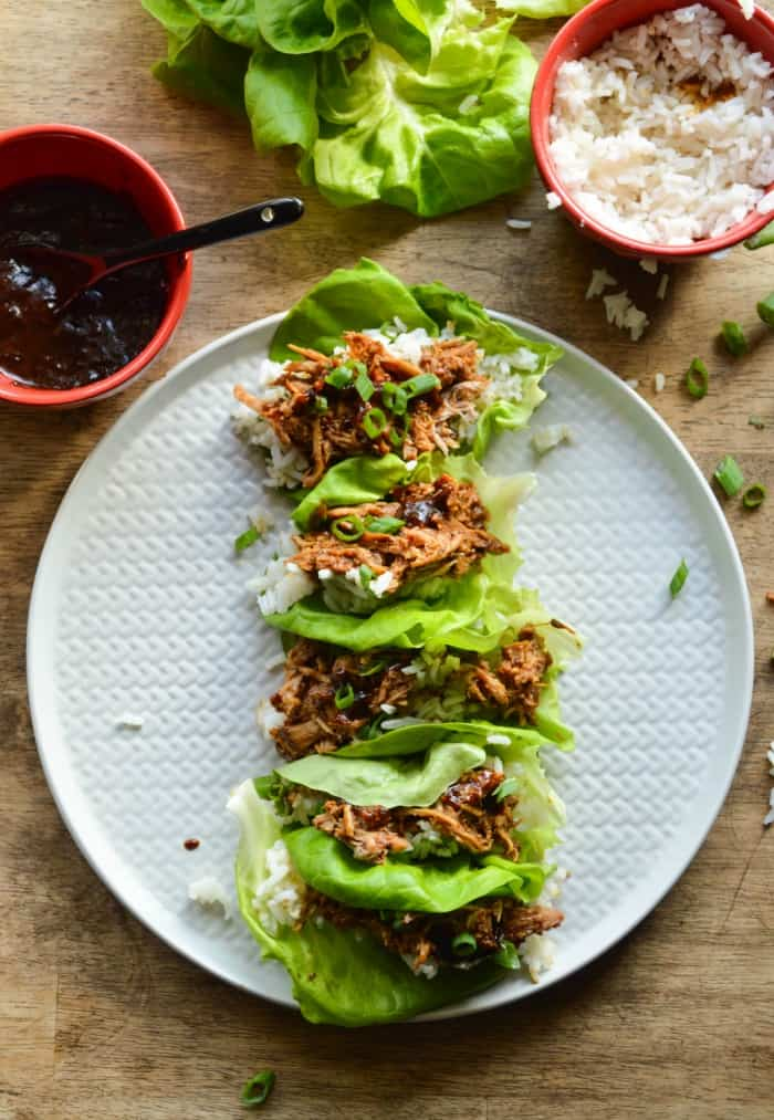 Chinese Pork Lettuce Wraps made with buttery lettuce leaves, jasmine rice, and shredded Chinese Hacked Pork.
