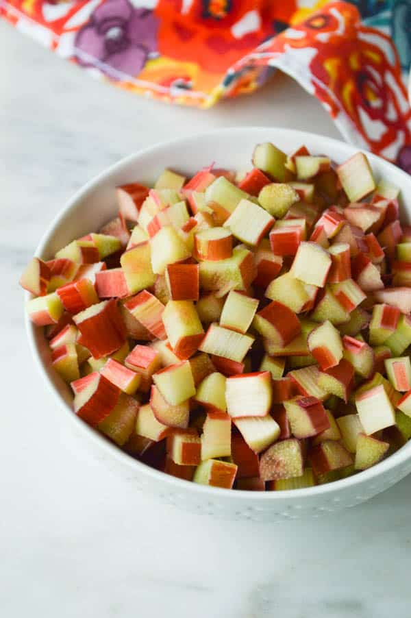 Chopped Rhubarb ready for Rhubarb Squares