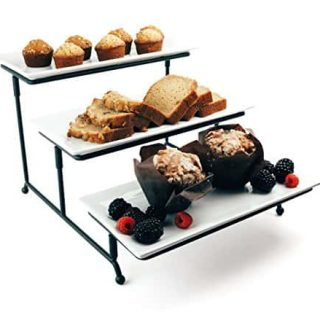 Food Serving Tray Set: 3 Tier Metal Display Stand with 3 White Rectangular Stoneware Platters   Perfect for Party Foods, Desserts, Cakes & Cupcakes by Chef's Medal