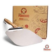 Aluminum Metal Pizza Peel with Foldable Wood Handle for Easy Storage 12-Inch x 14-Inch, Gourmet Luxury Pizza Paddle for Baking Homemade Pizza and Bread - Oven or Grill Use - POMODORO