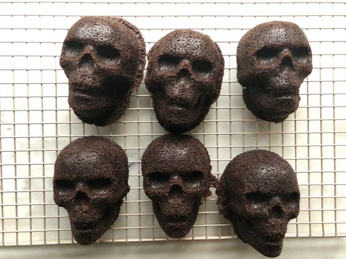 Black Magic Skull Cakes use Nordic Ware's skull pan and are super spooky
