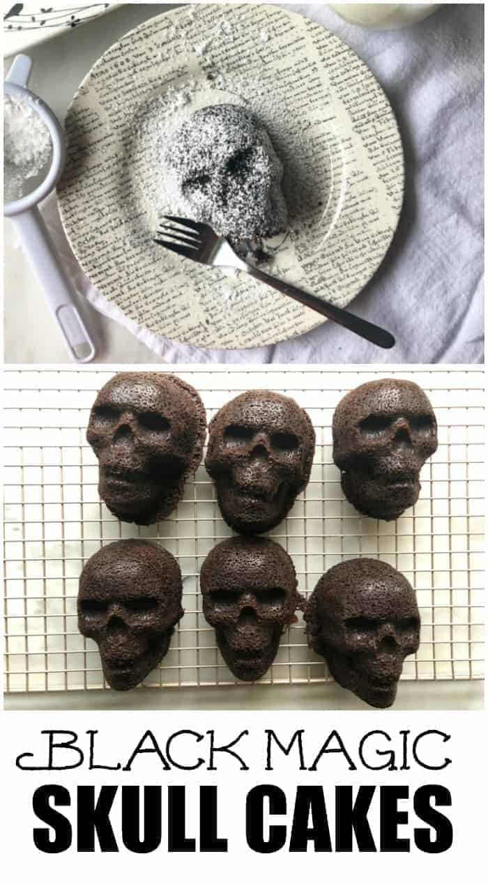 Black Magic Skull Cakes are the perfect Halloween Treat! Made with Nordic Ware's Skull Pan and covered in powdered sugar.