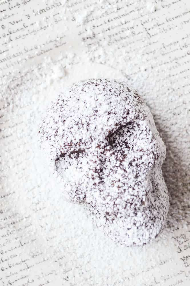Black magic Skull Cake served dusted with powdered sugar