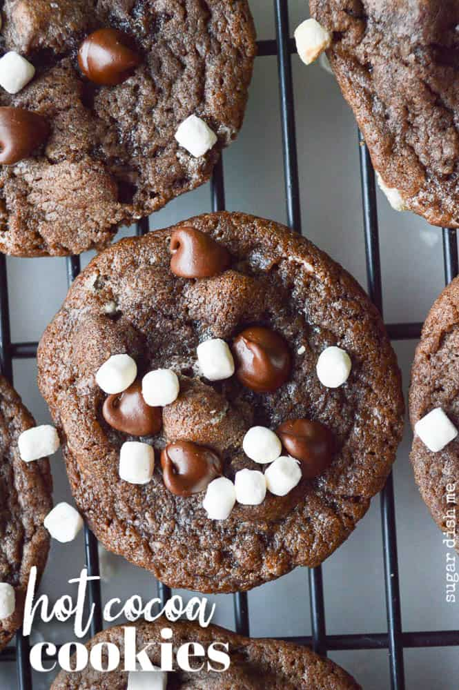 Hot Cocoa Cookies are rich chocolate studded with semi-sweet chocolate chips and little tiny mallow bits. they are all lined up on a rack for cooling