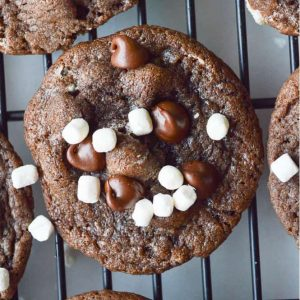 Hot Cocoa Cookies are chocolate with chocolate chips and are covered in little mallow bits