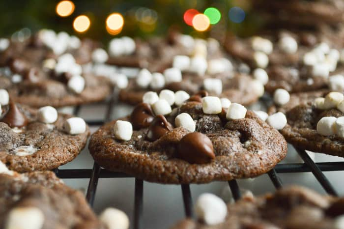 Hot Cocoa Cookies Cooling in front of the Christmas tree