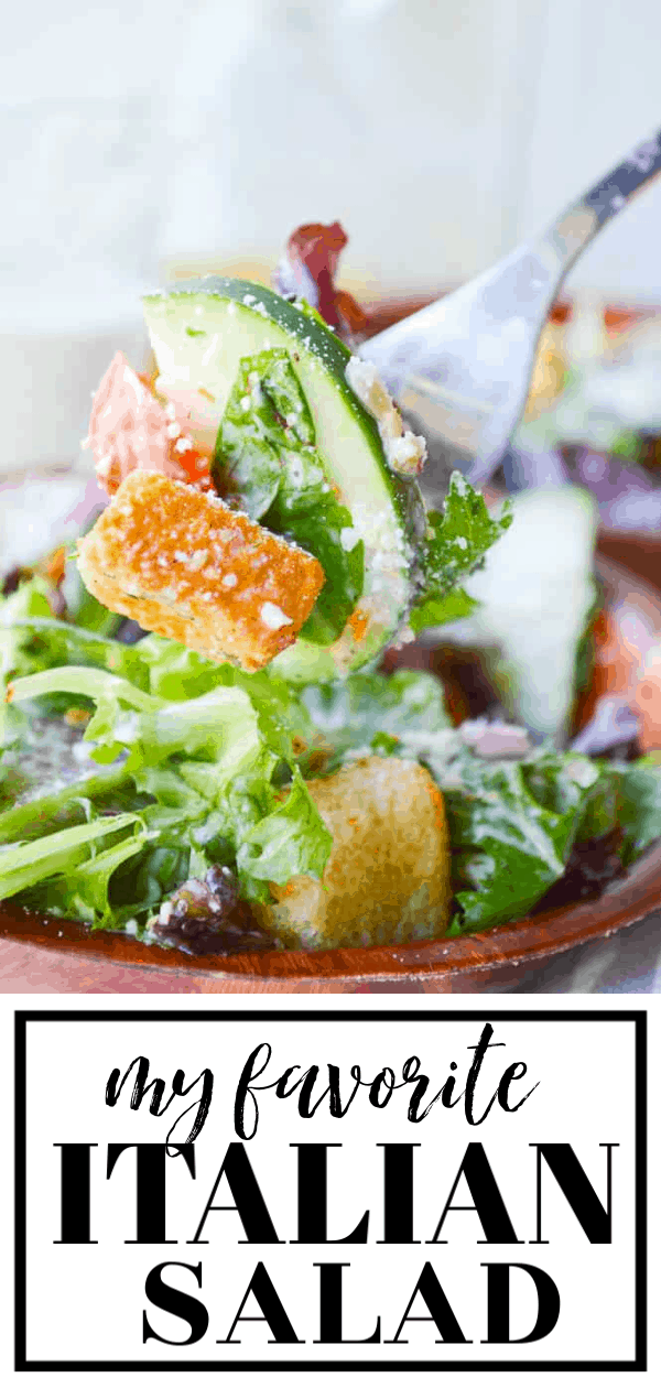My Favorite Italian Salad is a little like an Olive Garden Italian salad knock-off, but better. The dressing is creamy enough to coat the veggies, but has enough oil and vinegar to let you know you got it right.