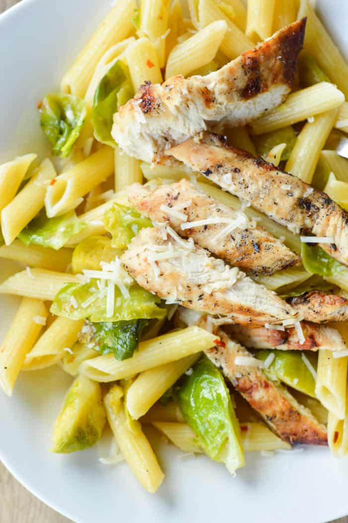Grilled Chicken and Brussels Sprouts Pasta overhead close up view