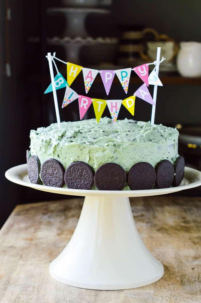 Mint Oreo Buttercream Birthday Cake