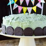 Mint Oreo Buttercream Frosting on a birthday Cake with Photo Text