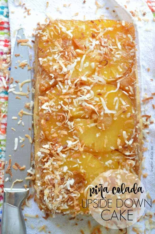 Pina Colada Upside Down Cake is made with sliced pineapple and coconut milk! Super simple and tastes like summer