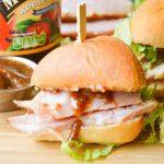 Apple Butter Glazed Ham Sandwiches Close Up Square Crop