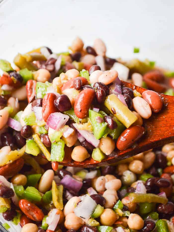 The Best Easy Bean salad spooned up and ready to serve