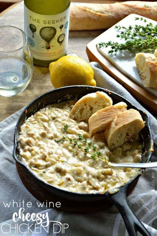 White Wine Cheesy Chicken Dip
