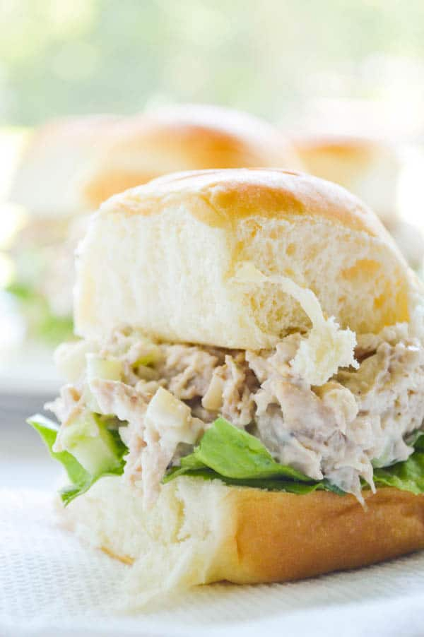 Rotisserie Chicken Salad Sandwiches on soft Hawaiian rolls