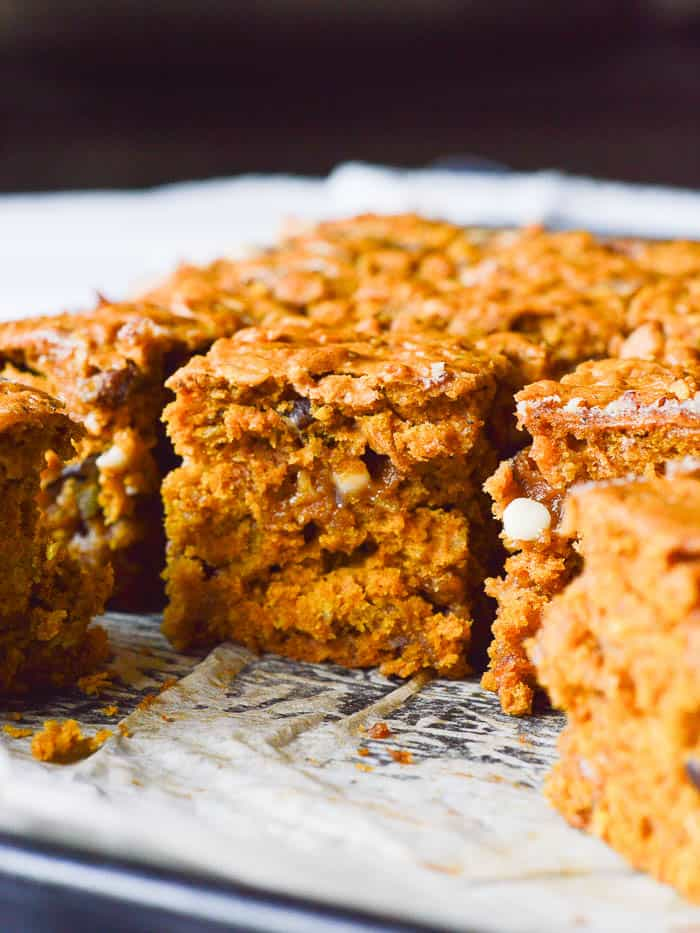 a close up of Pumpkin Cake Bars shows moist cake with a tender crumb, flecks of chopped pecans, melted white chocolate chips, and the deep burnt orange hue lent by canned pumpkin