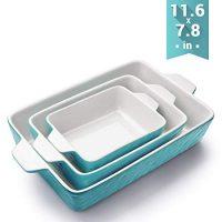 Bakeware Set, Krokori Rectangular Baking Pan Ceramic Glaze Baking Dish for Cooking, Kitchen, Cake Dinner, Banquet and Daily Use, 11.6 x 7.8 Inches of Aquamarine, 3 Pack of Rectangular