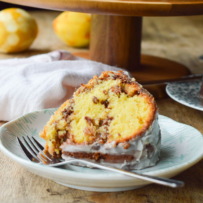 Olive Oil Bundt Cake with Pecan Streusel