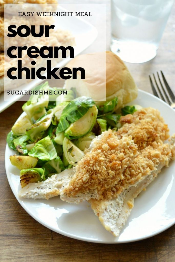 Sour Cream Chicken Image with Text for saving to Pinterest