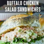 Buffalo Chicken Salad Sandwiches Image with text