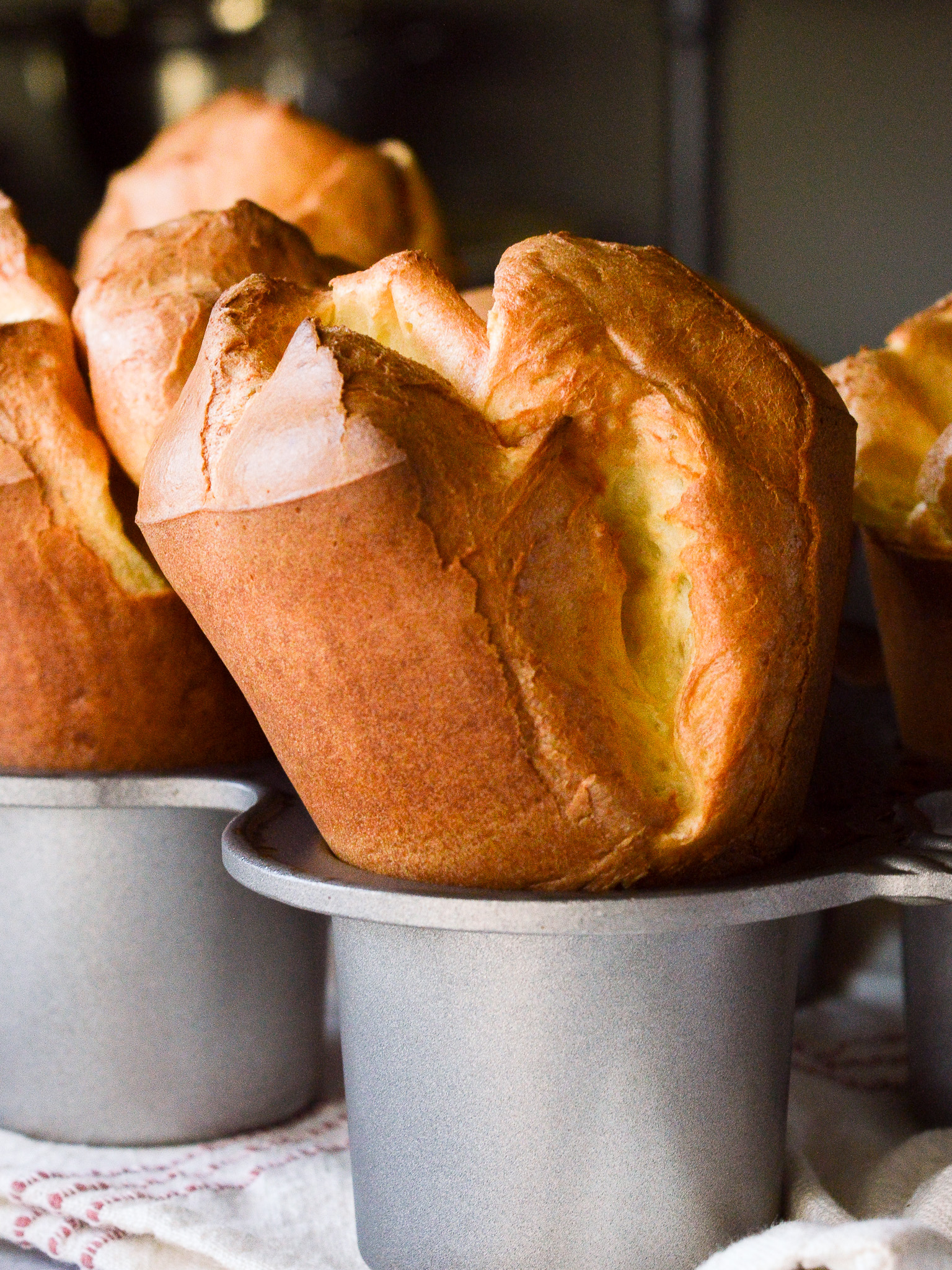 Tall fluffy popovers freshly baked, made using the blender!